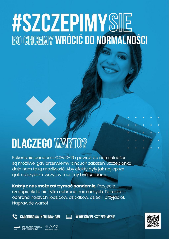 Szczepimy się bo chcemy wrócić do normalności - kampania zachęcająca do szczepień - plakat